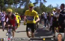 Disastro al Tour: moto fa cadere maglia gialla in mezzo alla folla