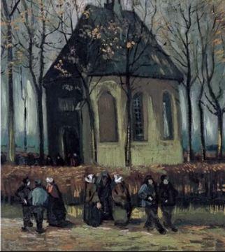 L'uscita dalla chiesa protestante di Nuenen - Vincent Van Gogh