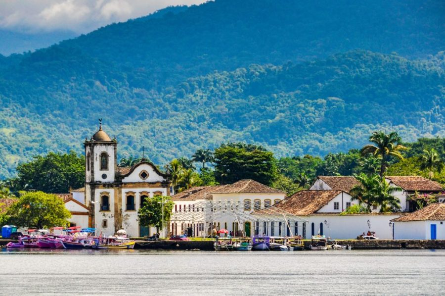 View from the sea in Paraty, Green Coast, Brazil
