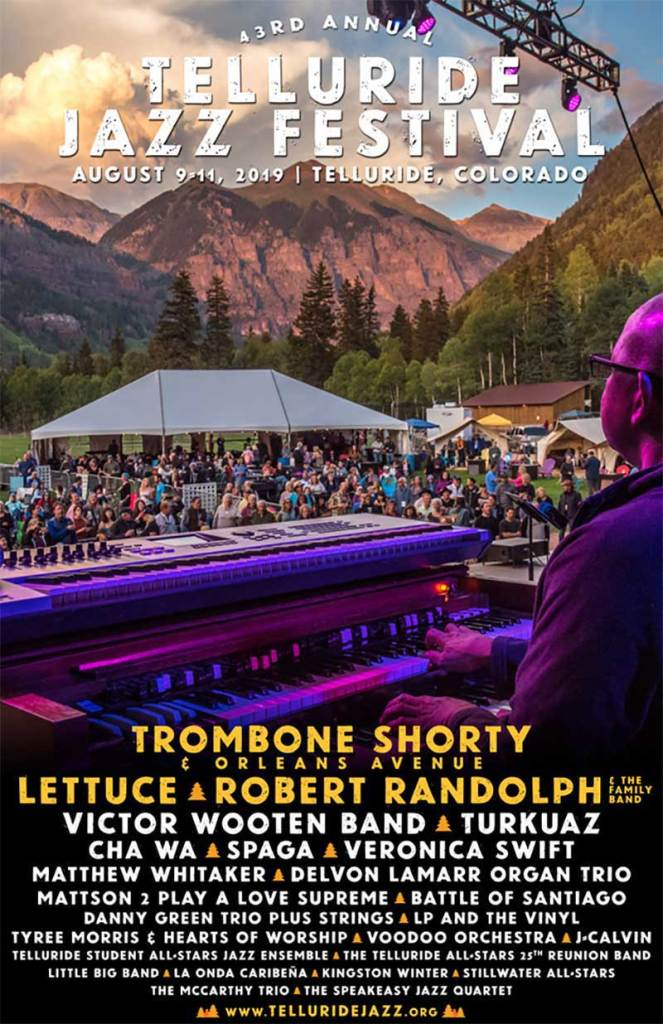 Telluride Jazz Festival 2019 Colorado first line up poster