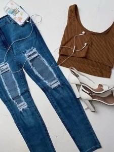 Light Blue Extreme Distressed High Waist Skinny Jeans | Cleo