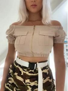 Stone Zip Front Bardot Utility Crop Top | Cleo