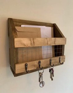 Rustic wooden letter & key rack hallway organiser | HandMadeByJoe Image