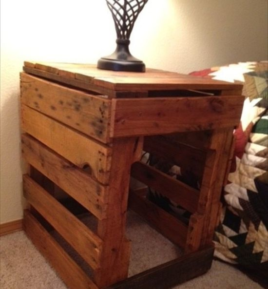 Smart brown DIY pallet nightstand - NO.1# THE MOST BEAUTIFUL DIY BEDROOM NIGHTSTAND IDEAS