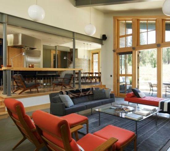 Modern orange and grey sunken living room design - NO.1# BEAUTIFUL SUNKEN LIVING ROOM DESIGN IDEAS