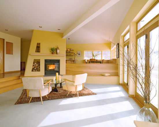 Plush sunken living room design with modern seating and fireplace - NO.1# BEAUTIFUL SUNKEN LIVING ROOM DESIGN IDEAS