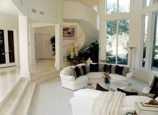 Semi oval shaped sunken living room design in white with solid carpet tiles - NO.1# BEAUTIFUL SUNKEN LIVING ROOM DESIGN IDEAS