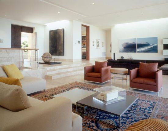 Sunken living room with marble floor design - NO.1# BEAUTIFUL SUNKEN LIVING ROOM DESIGN IDEAS
