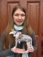 Caroline with paper mache Moose