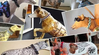 Paper Mache Greyhound Collage