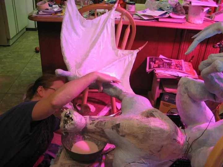 Using bed sheets and glue for the Dragon's wings