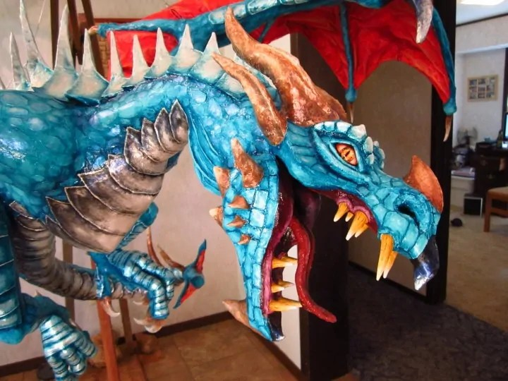 Paper Mache dragon, closeup of the head