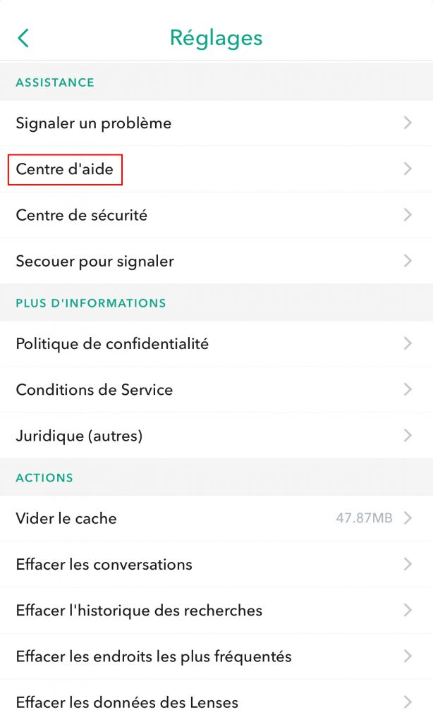 Supprimer compte snapchat aide