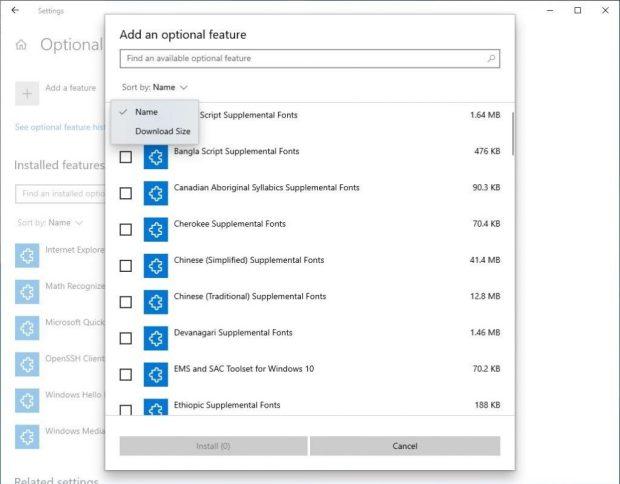 Windows 10 20H1 – Gestionnaire des fonctionnalités facultatives