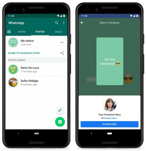 You can now share your WhatsApp Status to Facebook Story