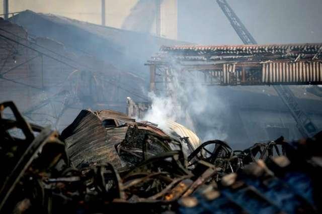 L'usine de Lubrizol après l'incendie qui l'a ravagée, à Rouen, le 27 septembre.