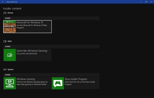 Insider content in Xbox Insider Hub