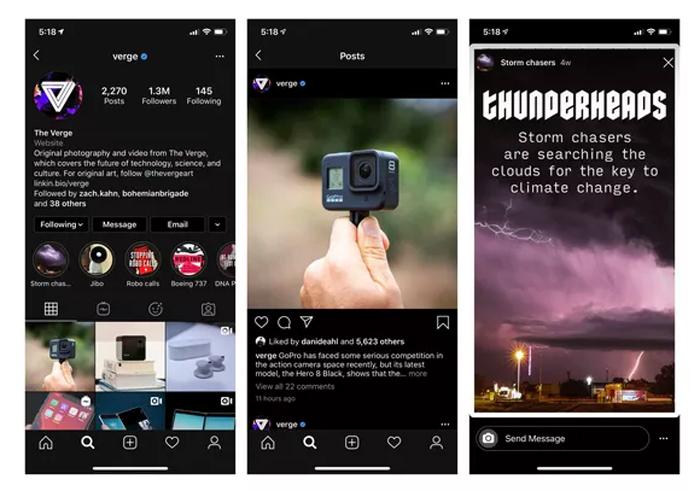 Le dark mode Instagram sur iOS