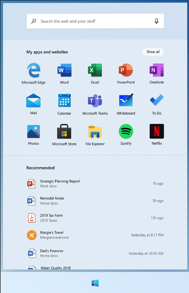 Windows 10X et le nouveau Menu Démarrer