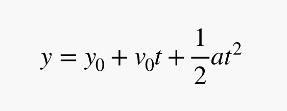 y equals initial y plus velocity times t plus acceleration times t squared divided by 2
