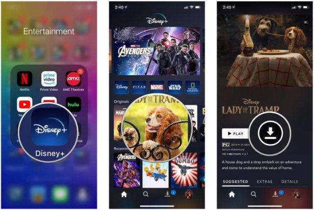 Launch Disney+, find movie, tap Download