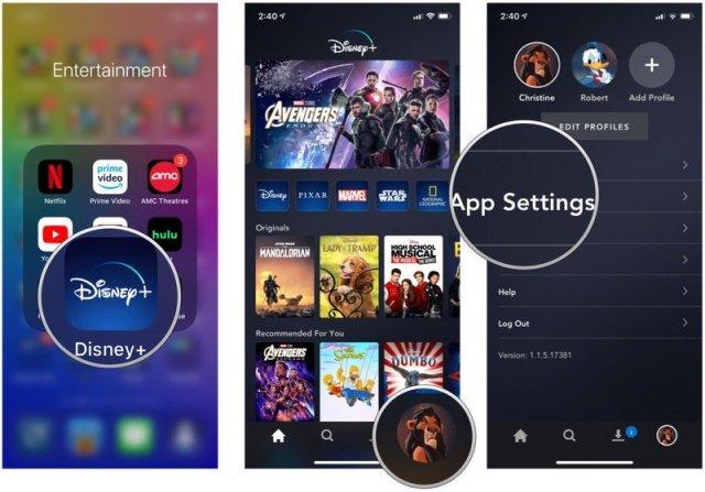 Launch Disney+, tap Profile, tap App Settings