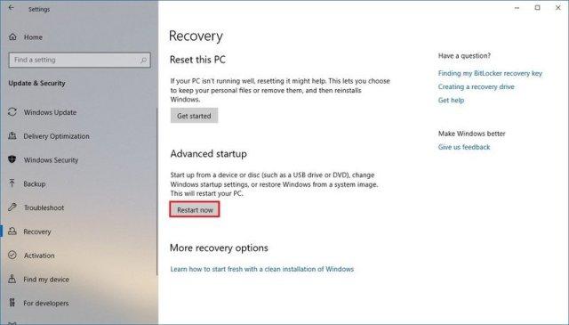 Windows 10 recovery settings