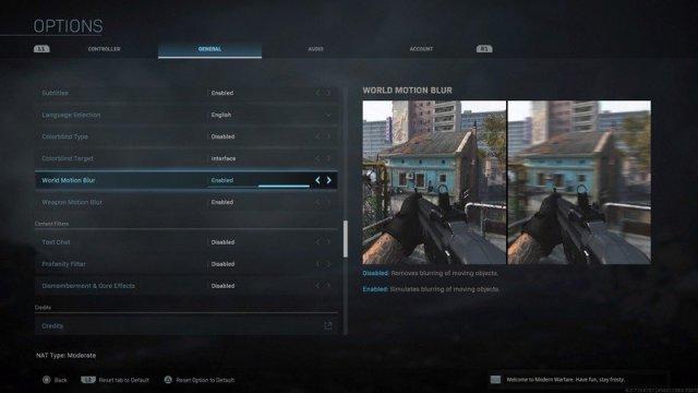 World blur options in Modern Warfare