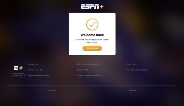 ESPN+ log in confirmation page