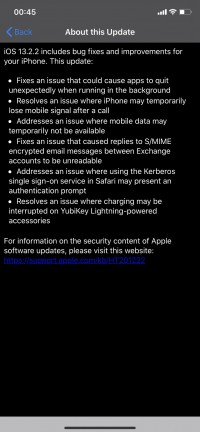 iOS 13.2.2 change log
