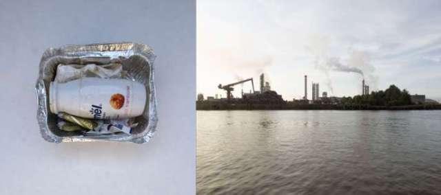 """«49°26'11.8""""N 0°10'47.2""""E Seine - France». Ce diptyque, issu du travail« L'Europe en plastique», montre des échantillons deplastiques collectés par les scientifiques de la goëlette Tara sur les berges de la Seine en aval de Rouen."""