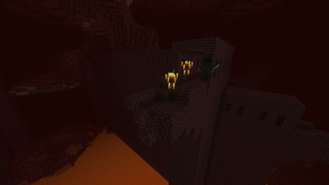 Couple Nether mobs chilling in their Nether fortress