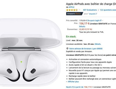 Promo : les AirPods 2 descendent à 156 €