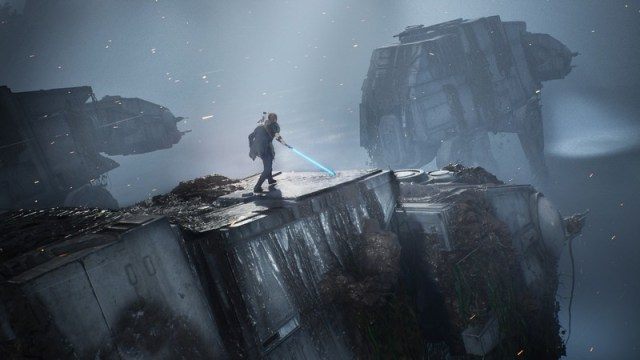 Riding the top of an AT-AT in Star Wars Jedi: Fallen Order.