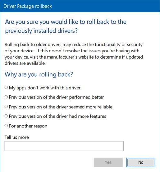 Reason to roll back driver