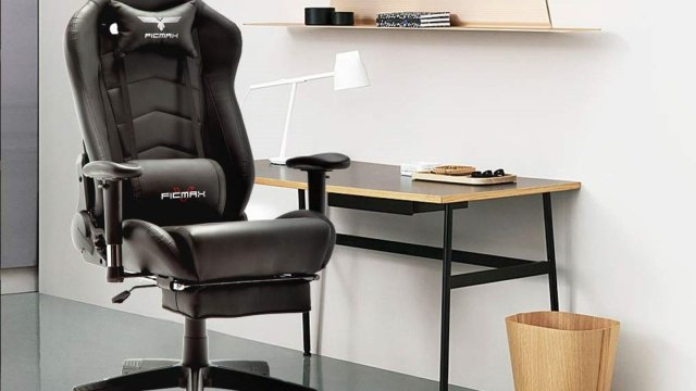 Ficmax's gaming chair with a footrest attached.