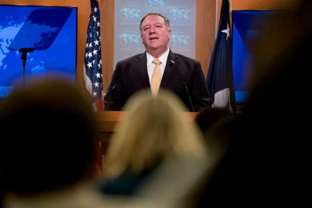Le secrétaire d'Etat américain, Mike Pompeo, lors d'une conférence de presse à Washington le 18 novembre.