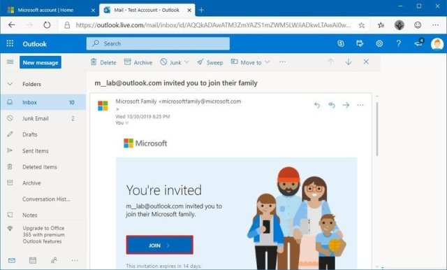 Microsoft account family invitation email