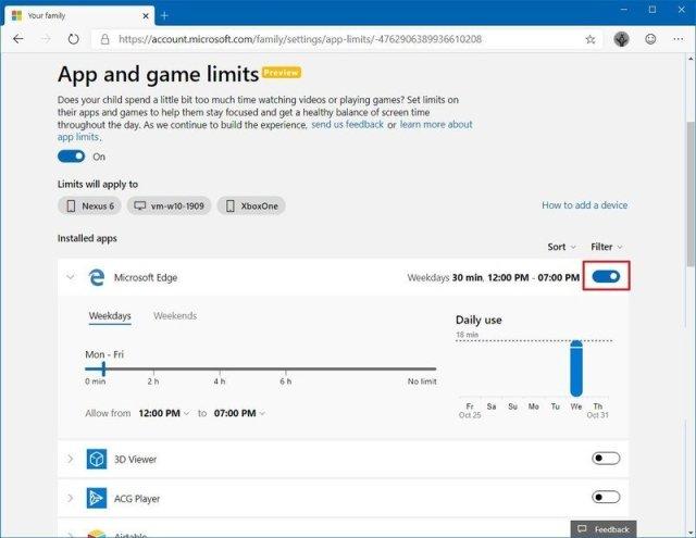 App to set limit using Microsoft account