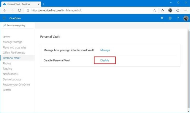 Disable OneDrive Vault option