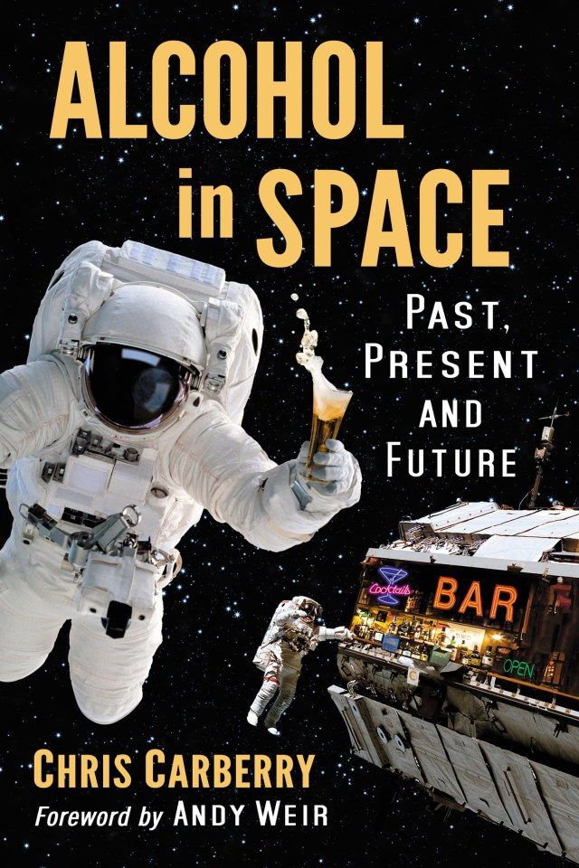 cover with astronauts in space drinking at a bar