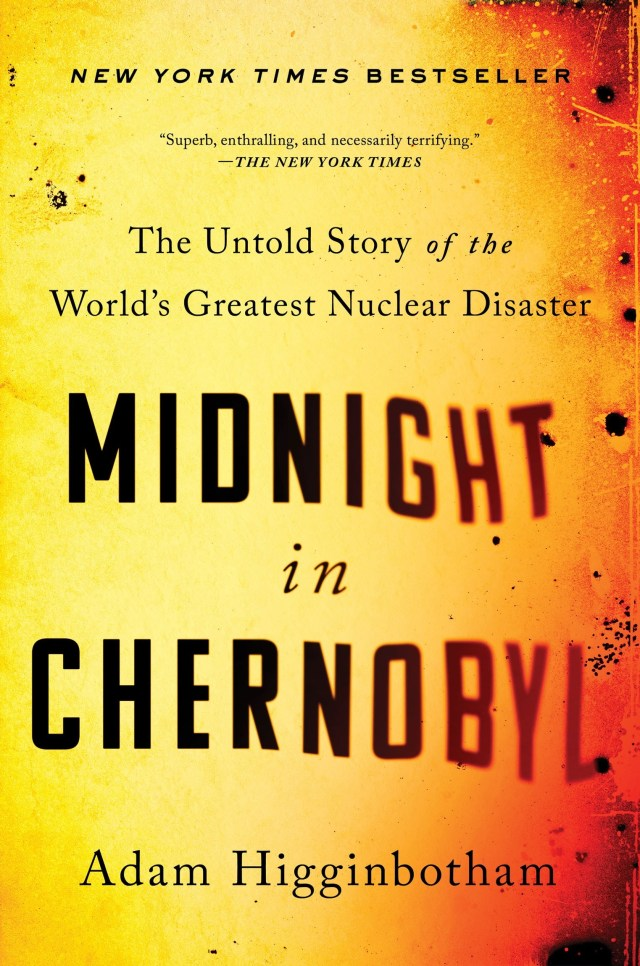 orange colored cover with text Midnight in Chernobyl