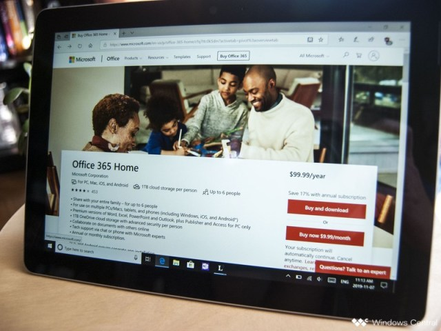 Office 365 Home on Surface Go