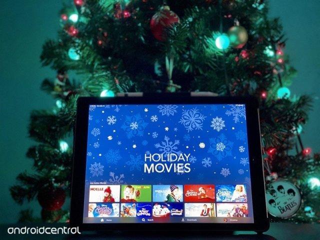 Disney+ on iPad Pro in front of Christmas tree