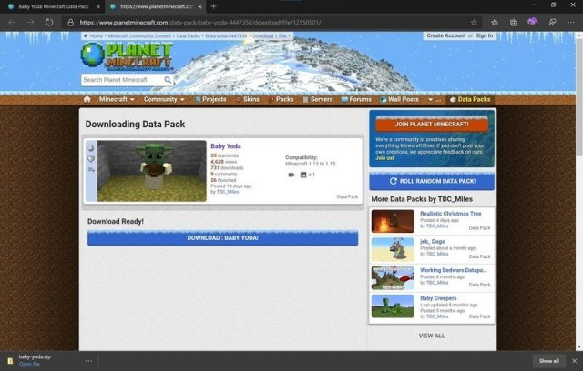 Datapack download page