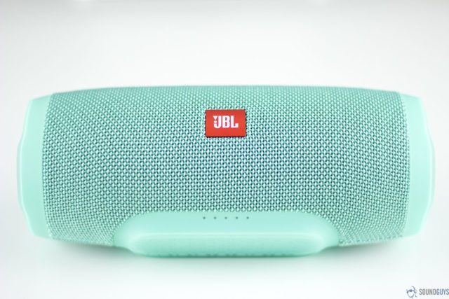 The LED battery indicator lights on the bottom of the JBL Charge 3.