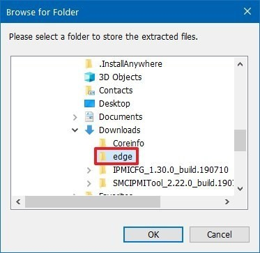 Select extraction folder