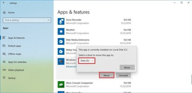 Windows 10 move installed app to new drive