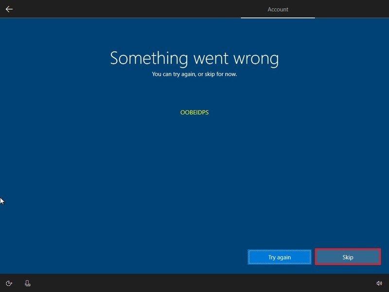 Something went wrong warning during Windows 10 setup