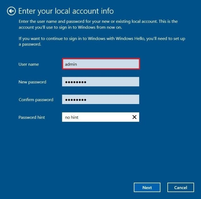 Switch from Microsoft account to local account information